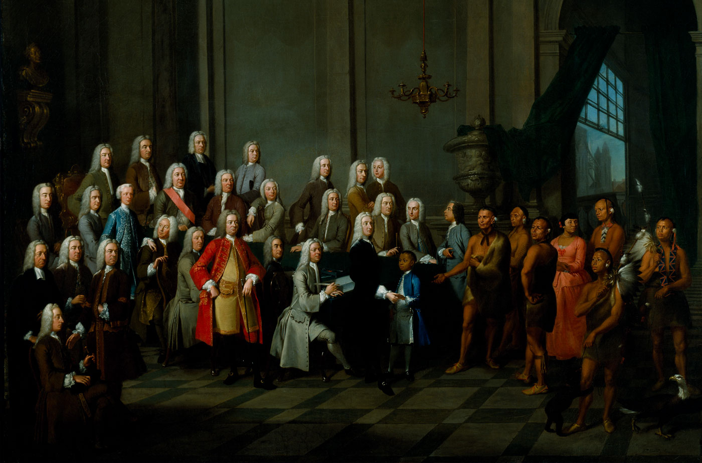 Audience Given by the Trustees of Georgia to a Delegation of Creek Indians. by William Verelst, gift of Henry Francis du Pont, 1956, Courtesy, Winterthur Museum