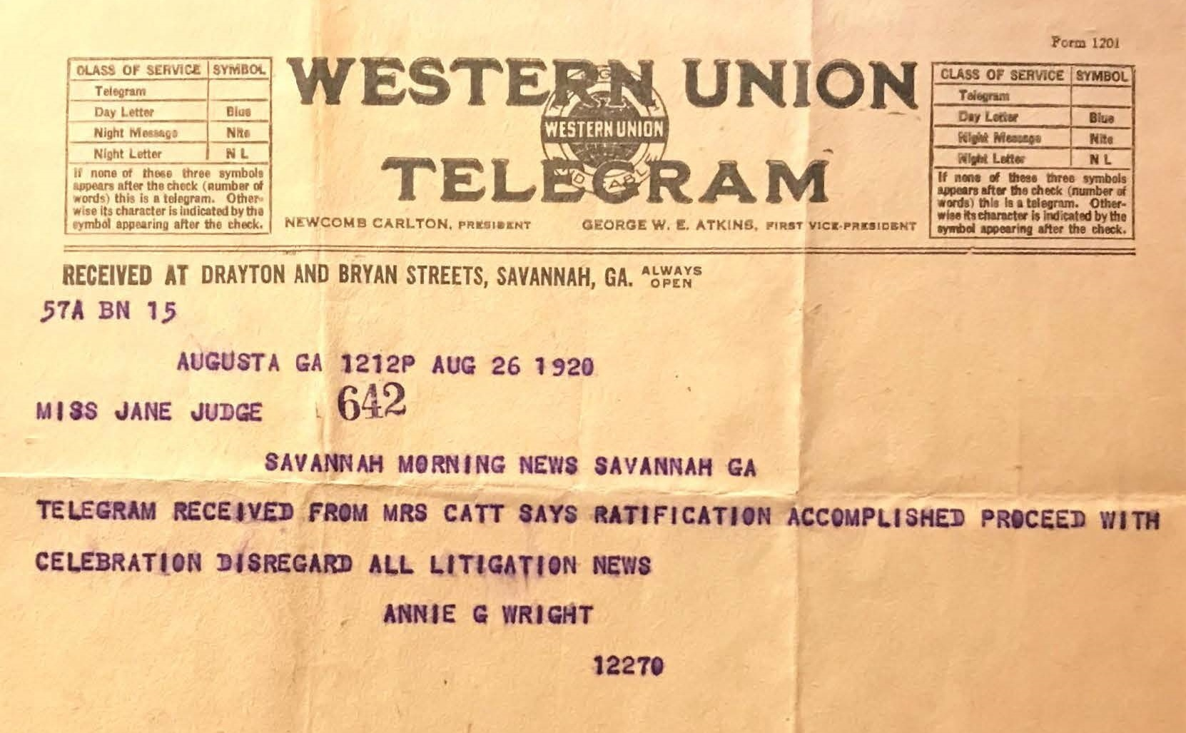 Western Union Telegram, MS 1349