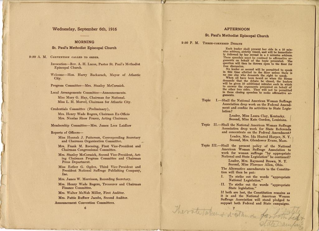 Collection Highlights: NAWSA 1916 Convention Program